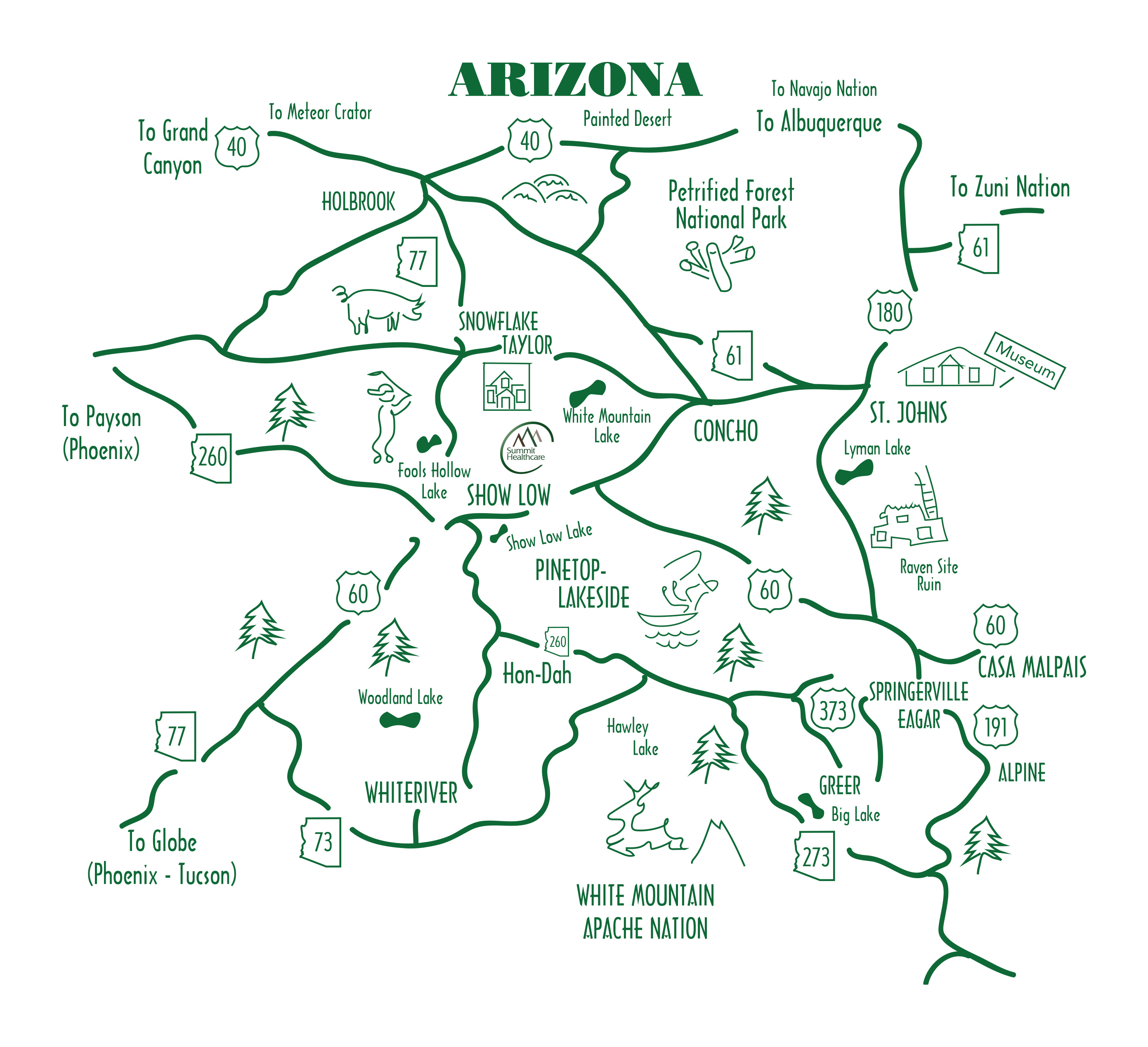 Show Map Of Arizona Getting to Arizona's White Mountains   Arizona White Mountains